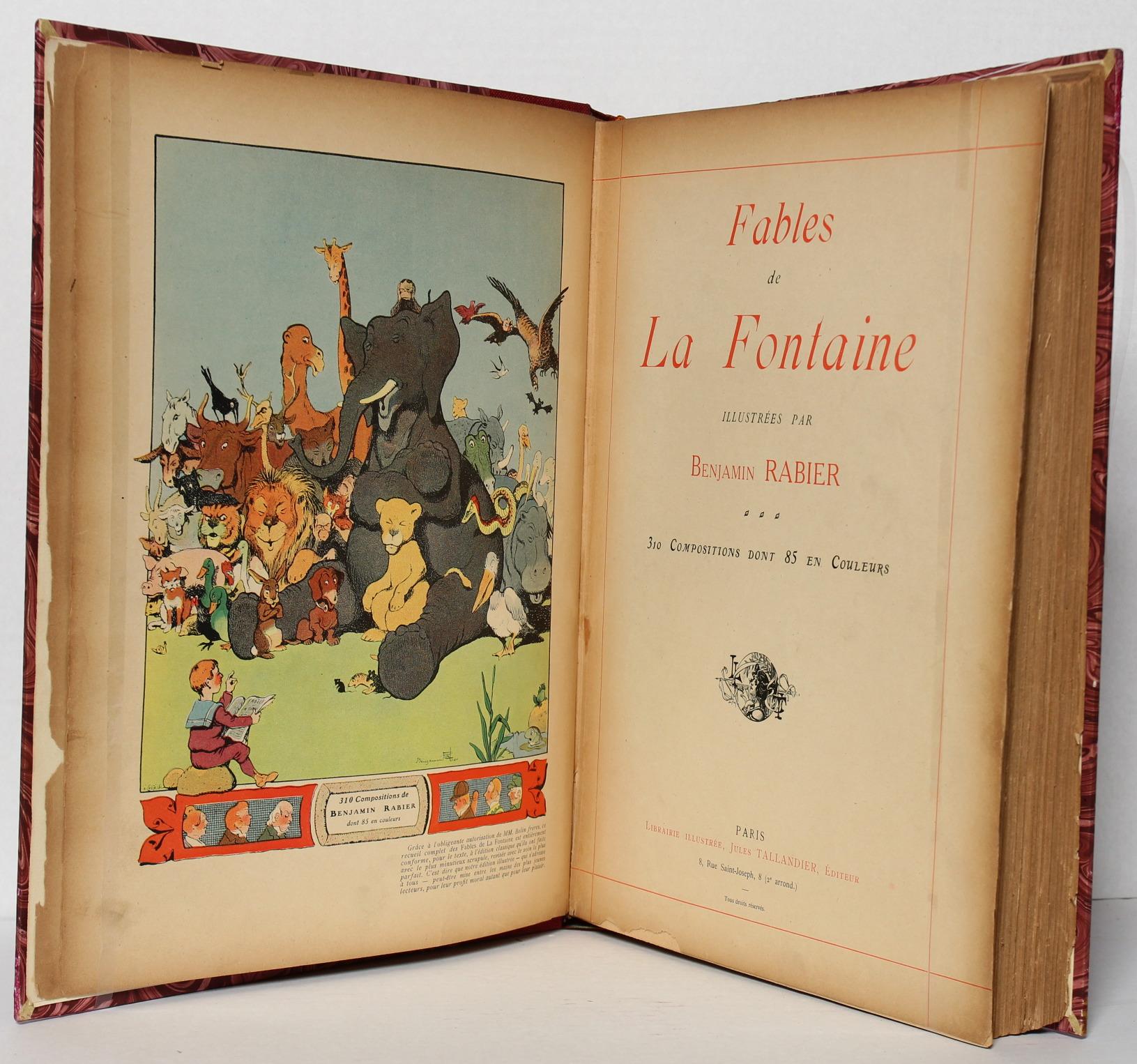 Fables de La Fontaine illustrées par Benjamin Rabier. Page titre. Livre ancien.