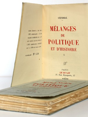 Stendhal. Mélanges de politique et d'histoire. Le Divan, 1933. 2 volumes. Page titre du volume 1.