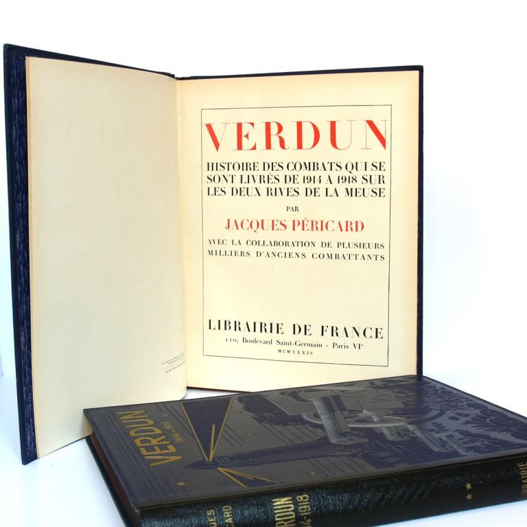 Verdun. Jacques Péricard. 2 volumes. Cartonnages éditeur. Page-titre.