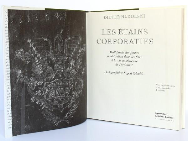 Les étains corporatifs. Nadolski. Nouvelles Éditions Latines 1989. Page titre.