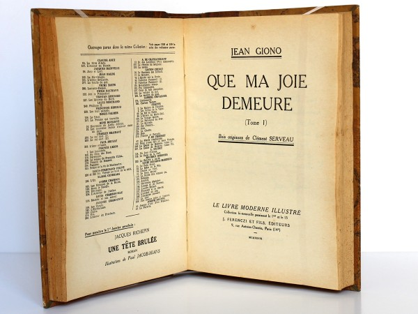 Giono. Que ma joie demeure. Ferenczi. 1939. Page titre_1.