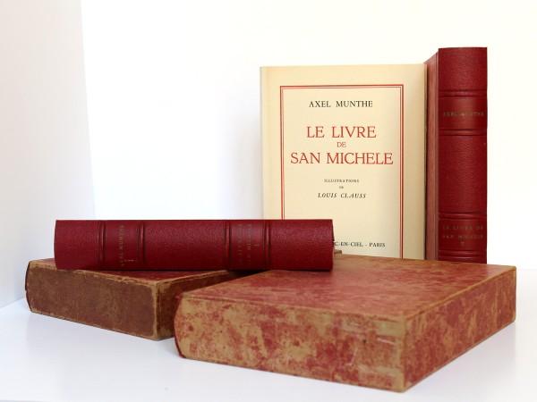 Le Livre de San-Michele. Axel Munthe. Éditions Arc-en-Ciel 1952. 2 volumes. Livres, chemises et emboîtages.