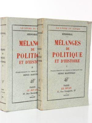 Stendhal. Mélanges de politique et d'histoire. Le Divan, 1933. 2 volumes. Couvertures.
