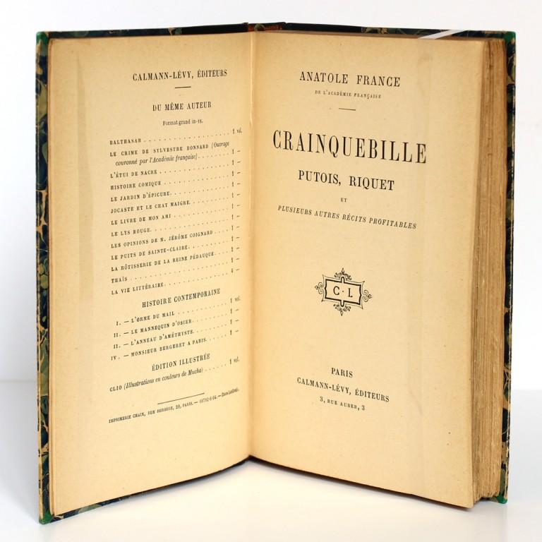 Crainquebille Putois, Riquet et plusieurs autres récits profitables. Anatole France. Calmann-Levy sans date. Pages titres.