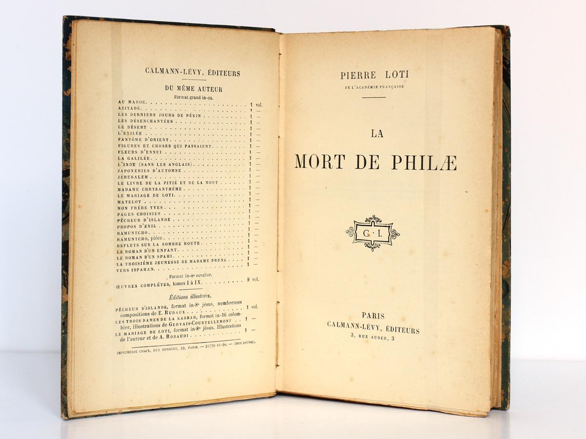 La Mort de Philae. Pierre Loti. Calmann-Lévy 1908. Page titre.