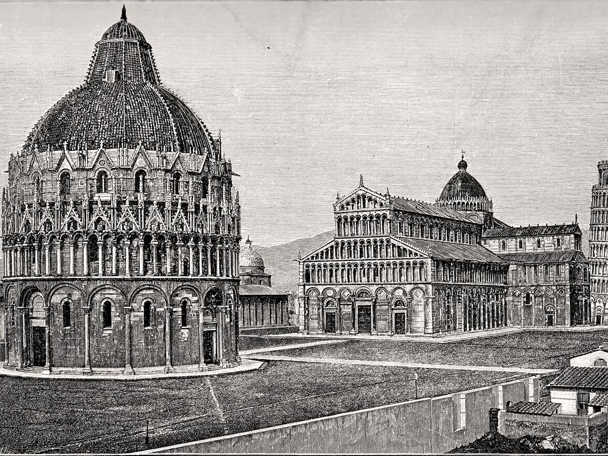 Pise. Place du Dôme. Gravure du 19e siècle.
