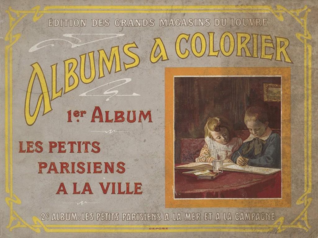 Album à colorier: 1er album, les petits parisiens à la ville, Éditions des Grands Magasins du Louvre [1900]. Fonds patrimonial Heure Joyeuse, médiathèque Françoise Sagan.