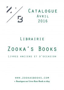 Catalogue Librairie Zooka's Books Avril 2016.