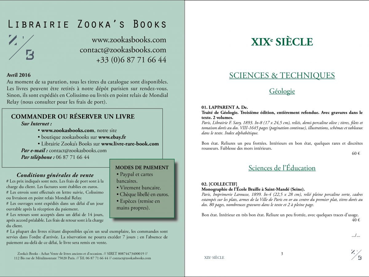 Catalogue Librairie Zooka's Books Avril 2016. Pages 2 et 3.