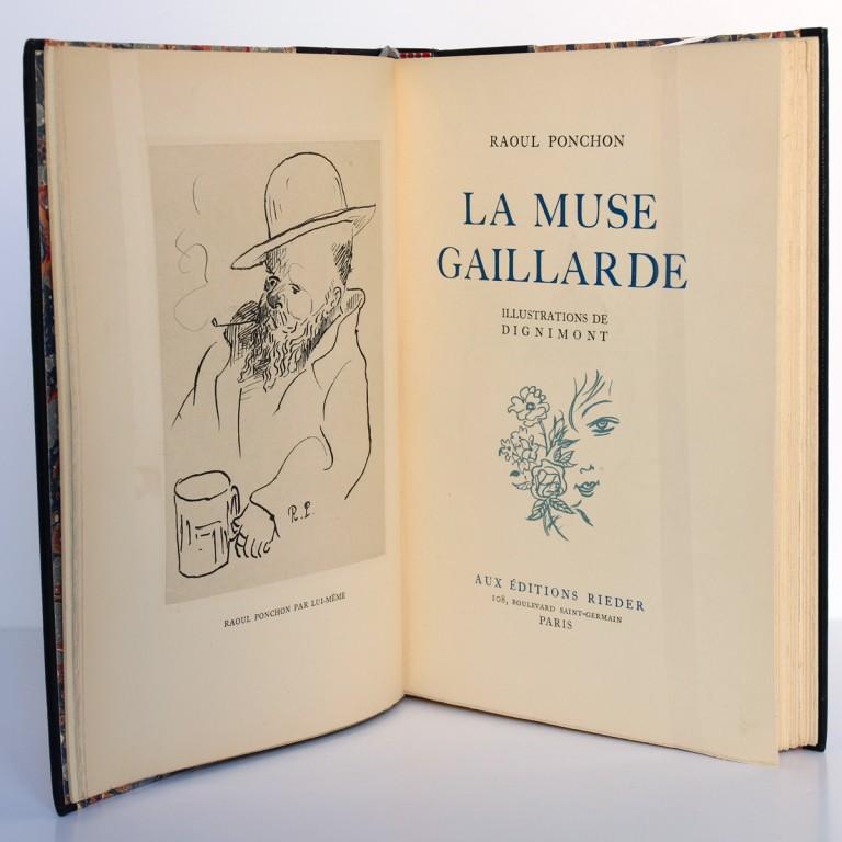 La Muse gaillarde, Raoul Ponchon. Illustrations de Dignimont. Aux Éditions Rieder, 1939. Frontispice et page titre.