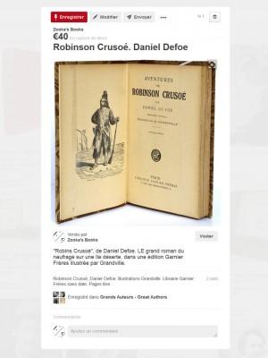 """Zooka's Books sur Pinterest. Image du livre """"Robinson Crusoé"""" aux éditions Garnier-Frères, illustré par Grandville."""