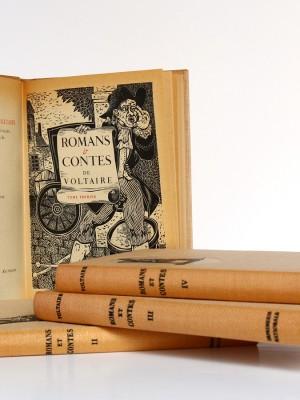 Romans et contes de Voltaire, bois gravés de Enrique Marin. Nouvelle Librairie de France 1965-1966. Page titre et frontispice Tome premier.