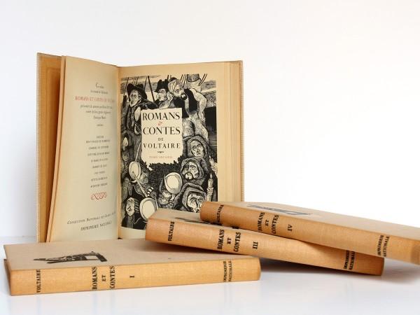 Romans et contes de Voltaire, bois gravés de Enrique Marin. Nouvelle Librairie de France 1965-1966. Page titre et frontispice Tome second.