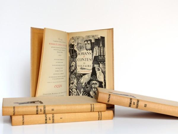 Romans et contes de Voltaire, bois gravés de Enrique Marin. Nouvelle Librairie de France 1965-1966. Page titre et frontispice Tome quatrième.