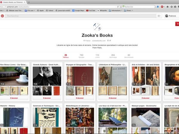 Page d'accueil de Zooka's Books, librairie en ligne de livres rares, sur Pinterest. 14 avril 2016.