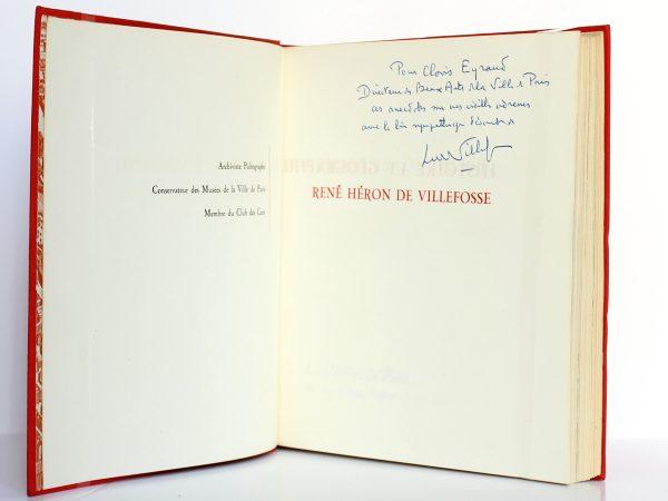 Histoire et géographie gourmandes de Paris. René Héron de Villefosse. Éditions de Paris 1956. Envoi.
