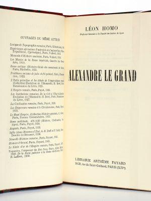 Alexandre le Grand, Léon Homo. Librairie Arthème Fayard, 1951. Page titre.