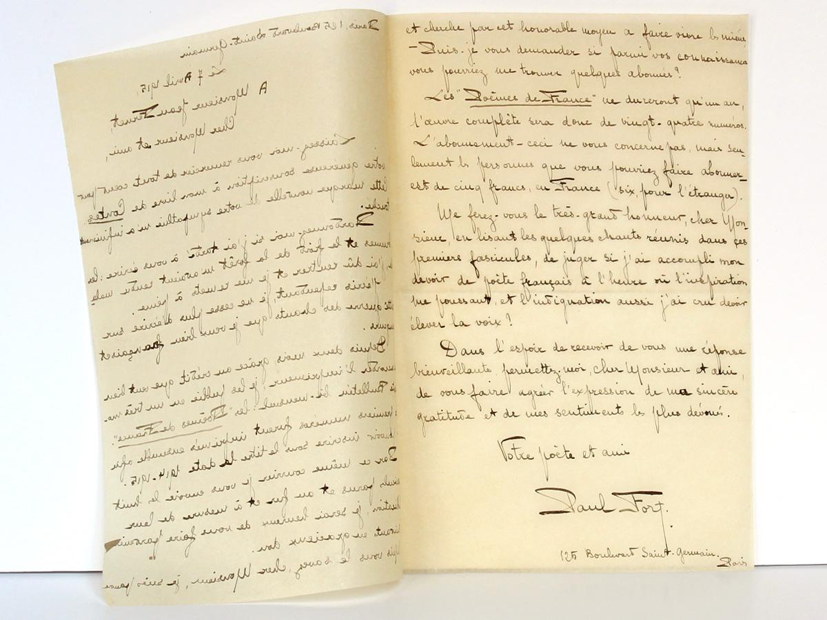 Lettre de Paul Fort à Jean Fernet, datée du 7 avril 1915. Deuxième page.