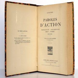 Paroles d'action. Lyautey. Armand Colin 1927. Page titre.