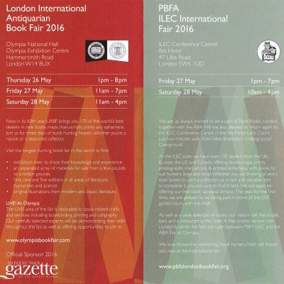London International Antiquarian Book Fair + ILEC International Fair = Rare Books London 2016