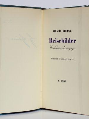 Reisebilder Tableaux de voyage. Heinrich Heine. Le Club français du Livre 1958. Page titre.