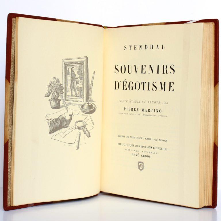 Souvenirs d'égotisme. Stendhal. Éditions Richelieu / Imprimerie nationale 1954. Frontispice et page titre.
