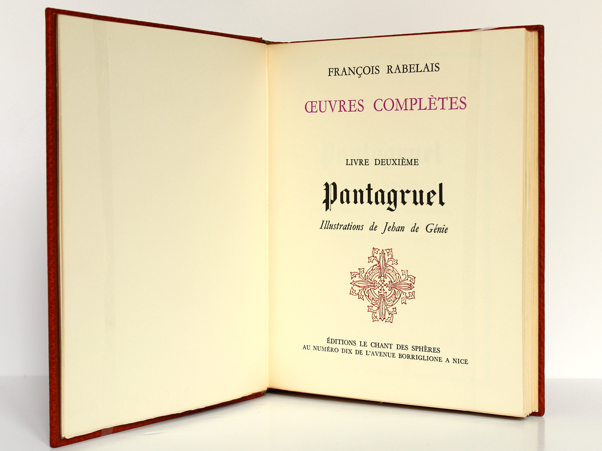 Pantagruel, Rabelais. Éditions Le Chant des Sphères, 1964. Page titre.