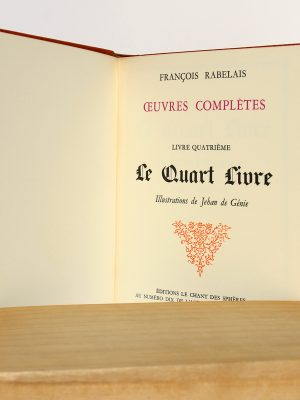 Le Quart Livre, François Rabelais. Le Chant des Sphères 1965. Page titre.