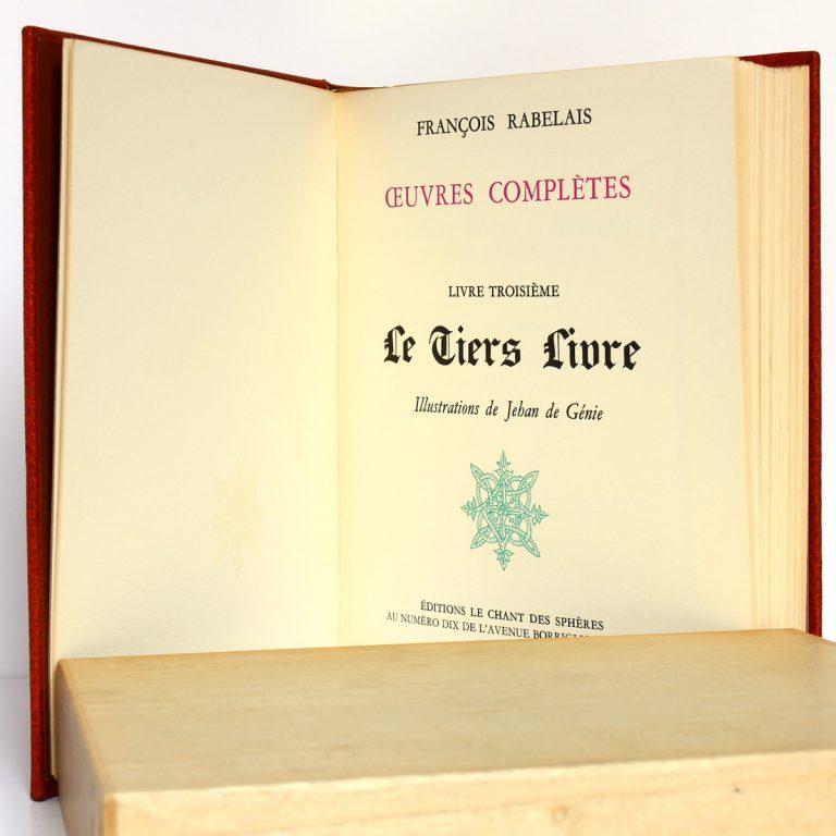 Le Tiers Livre, Rabelais. Le Chant des Sphères, 1964. Page titre.