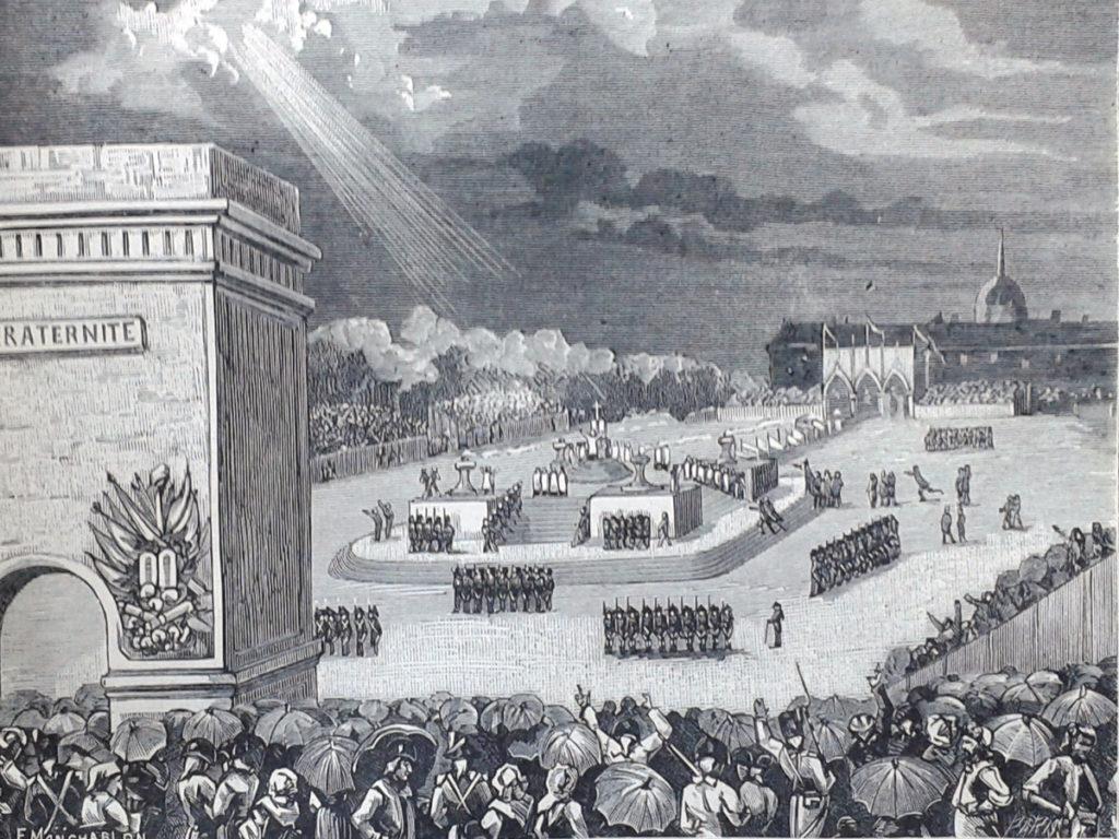L'autel de la Patrie au milieu de l'immense enceinte du Champ de Mars. Gravure, 1882.