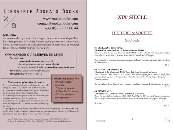 Catalogue Juillet 2016. Librairie Zooka's Books.