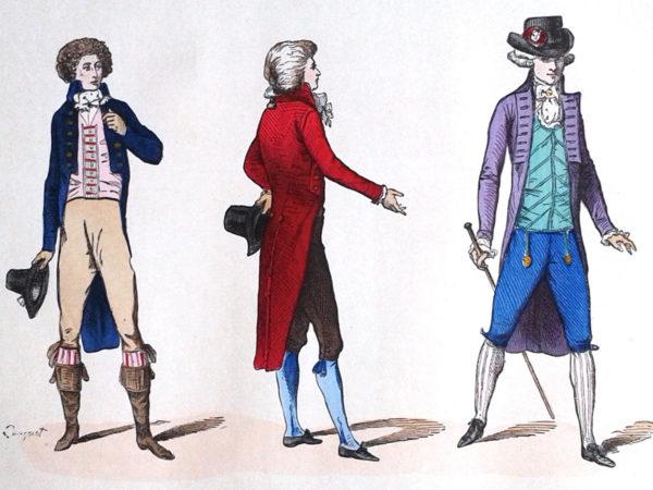 Costumes du commencement de la Révolution en 1790. Gravure coloriée datant de 1882.
