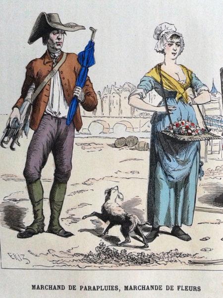 Des marchands parisiens au 18e siècle. Gravure coloriée, 1882.