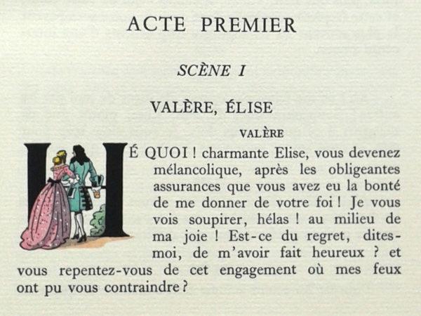 L'Avare, Molière. Éditions Imprimatur 1955. Illustrations Gradassi. Lettrine.