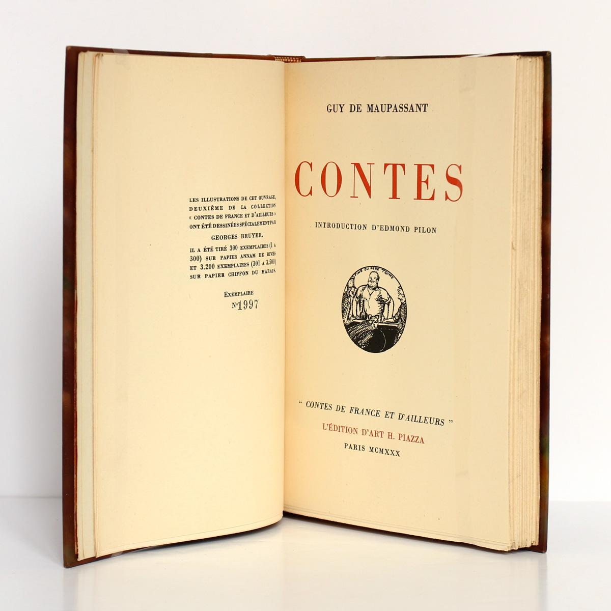 Contes, Guy de Maupassant. Édition d'Art Piazza, 1930. Page titre.
