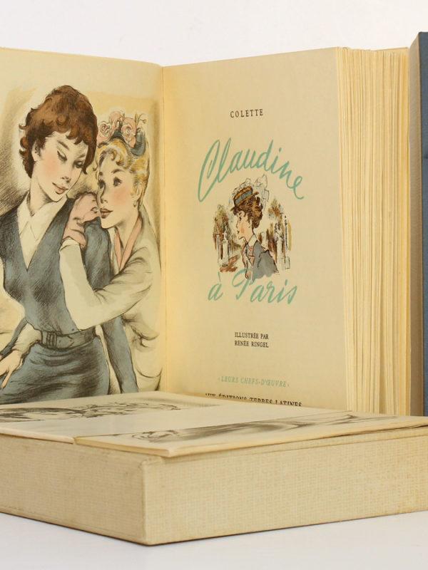 Claudine à Paris, Colette. Illustré par Renée Ringel. Éditions Latines. Livre, suite, chemise et étui.
