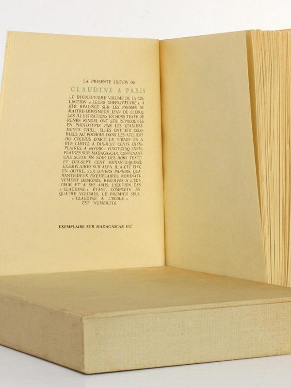 Claudine à Paris, Colette. Illustré par Renée Ringel. Éditions Latines. Justificatif de tirage.