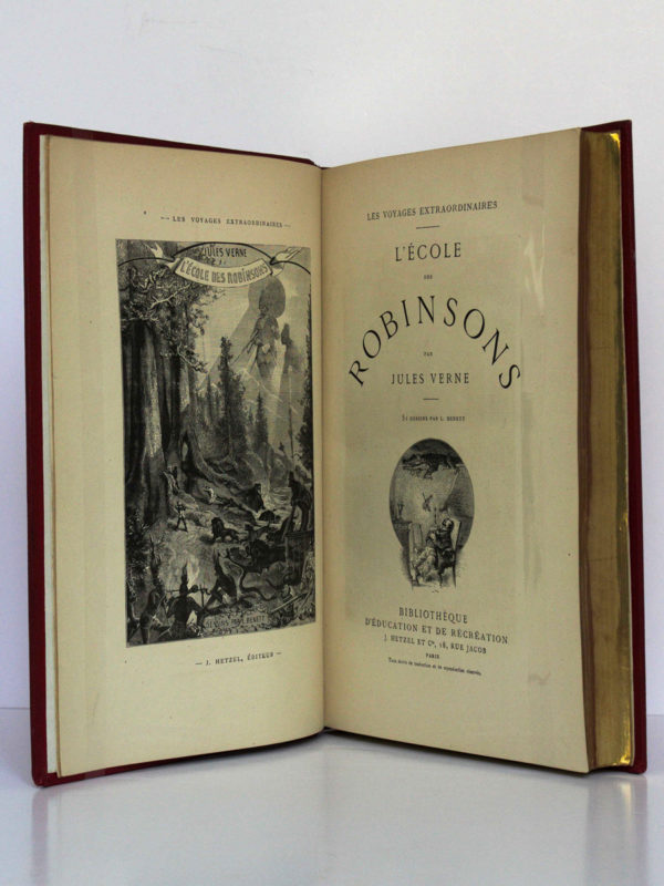L'École des Robinsons - Le Rayon vert, Jules Verne. Bibliothèque d'Éducation et de Récréation J. Hetzel & Cie [1882]. Frontispice et page titre du premier titre.