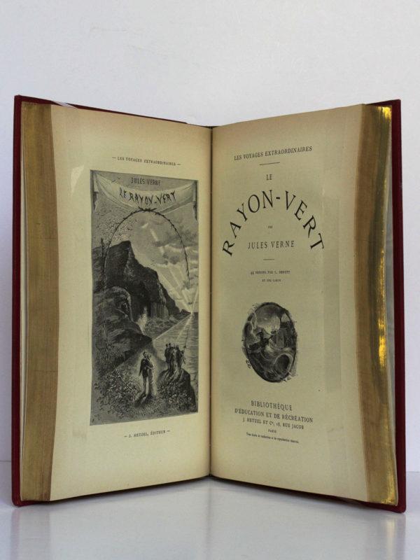 L'École des Robinsons - Le Rayon vert, Jules Verne. Bibliothèque d'Éducation et de Récréation J. Hetzel & Cie [1882]. Frontispice et page titre du deuxième titre.