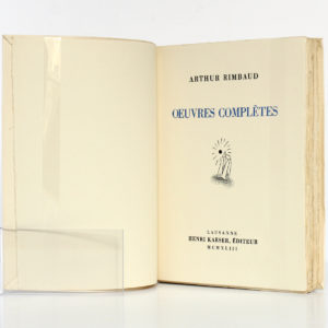 Œuvres complètes de RIMBAUD. Éditions du Grand-Chêne, 1943. Page titre.