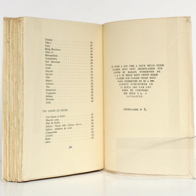 Œuvres complètes de RIMBAUD. Éditions du Grand-Chêne, 1943. Justificatif de tirage.