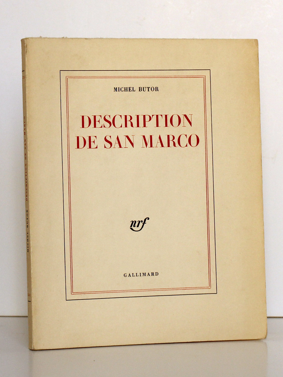 Description de San Marco, Michel BUTOR. nrf-Gallimard, 1963. Couverture.