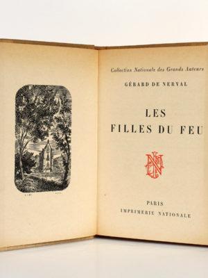 Les Filles du feu, Gérard de NERVAL. Bois gravés de RENAUD. Imprimerie Nationale, 1958. Frontispice et page titre.