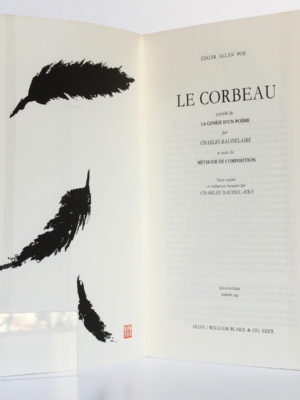 Le Corbeau, Allan Edgar POE. Illustrations de HAMIRU AQI. Alias / William Blake & Co. Édit, 1955. Frontispice et page titre.