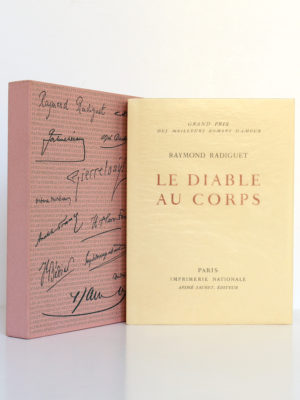 Le Diable au corps, Raymond RADIGUET. André Sauret Éditeur, 1958. Livre et étui.