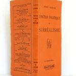 Position politique du Surréalisme, André BRETON. Éditions du Sagittaire, 1935. Couverture : dos et plats.