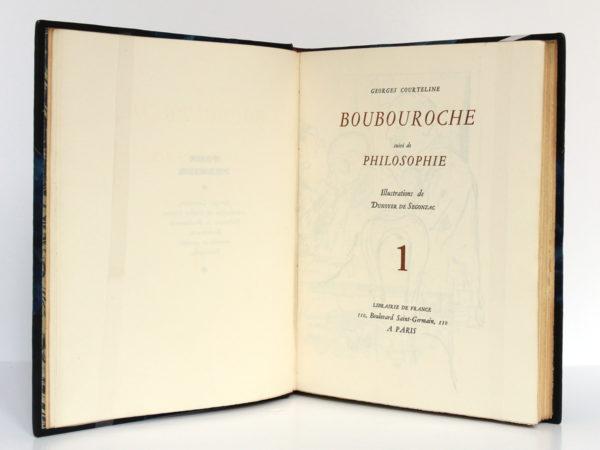 Boubouroche, Philosophie, Georges COURTELINE. Illustré par DUNOYER DE SEGONZAC. Librairie de France, 1931. Page titre.