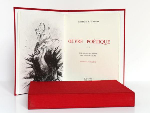 Œuvre poétique, Arthur RIMBAUD. Illustrations de BRÉHAT. 2 volumes. Roissard, 1971-1972. Frontispice et page-titre du volume 2.