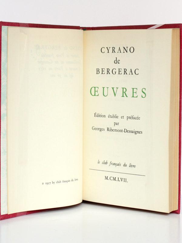 Œuvres, CYRANO DE BERGERAC. Le club français du livre, 1957. Page titre.