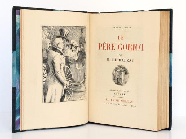 Le Père Goriot, Honoré de BALZAC. Gravures de COSYNS. Éditions Mornay, 1933. Frontispice et page titre.